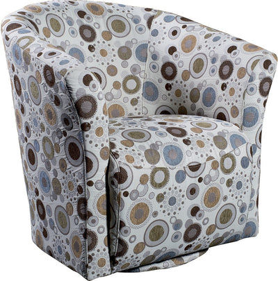 Sundial Accent Fabric Swivel Tub Chair - Modern style Accent Chair in Patterned
