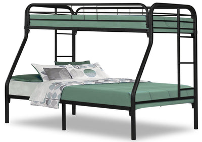 Monarch Twin/Full Bunk Bed – Black - Contemporary style Bunk Bed in Black Metal