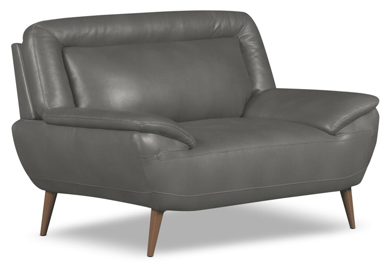 Roxy Leather-Look Fabric Chair-and-a-Half - Grey|Fauteuil une place et demie Roxy d'apparence cuir - gris