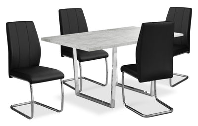 Luca 5-Piece Dining Package – Black - Modern style Dining Room Set in Black Particleboard and Metal