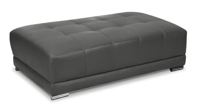 Rylee Genuine Leather Ottoman - Grey|Pouf Rylee en cuir véritable - gris|RYLEEGOT