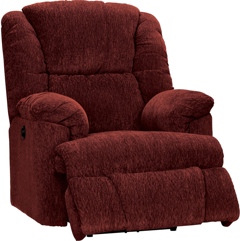 Bmaxx Red Chenille Power Recliner|Fauteuil à inclinaison électrique Bmaxx en chenille rouge|BMAXXF-RD