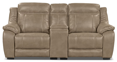 Novo Leather-Look Fabric Power Reclining Loveseat – Taupe - Modern style Loveseat in Taupe