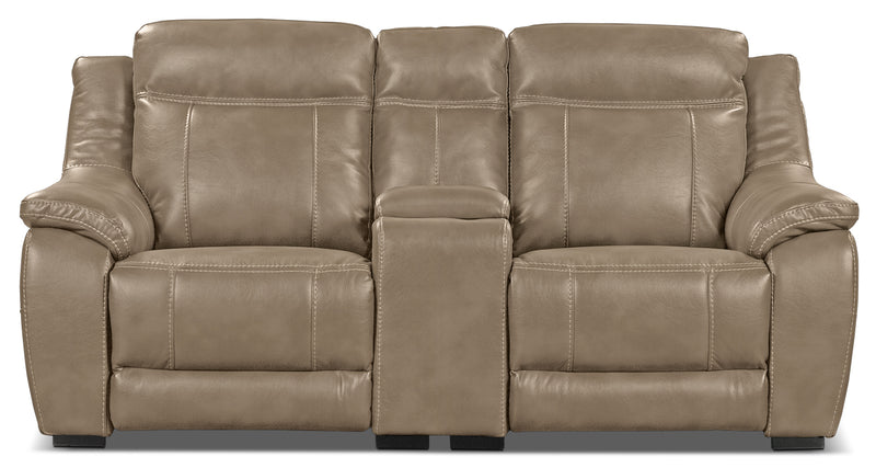 Novo Leather-Look Fabric Power Reclining Loveseat – Taupe|Causeuse à inclinaison électrique Novo en tissu d'apparence cuir - taupe
