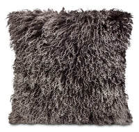 Mongolian Sheepskin Accent Pillow – Dip Dye Grey