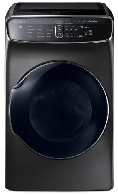 Samsung 7.5 Cu. Ft. FlexDryer™ Electric Steam Dryer – DVE60M9900V/AC - Dryer with Child Lock, Steam in Black Stainless Steel