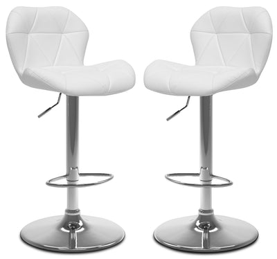 Emry Adjustable Bar Stool, Set of 2 – White|Tabouret bar réglable Emry, ensemble de 2 - blanc|EMRYWTBP