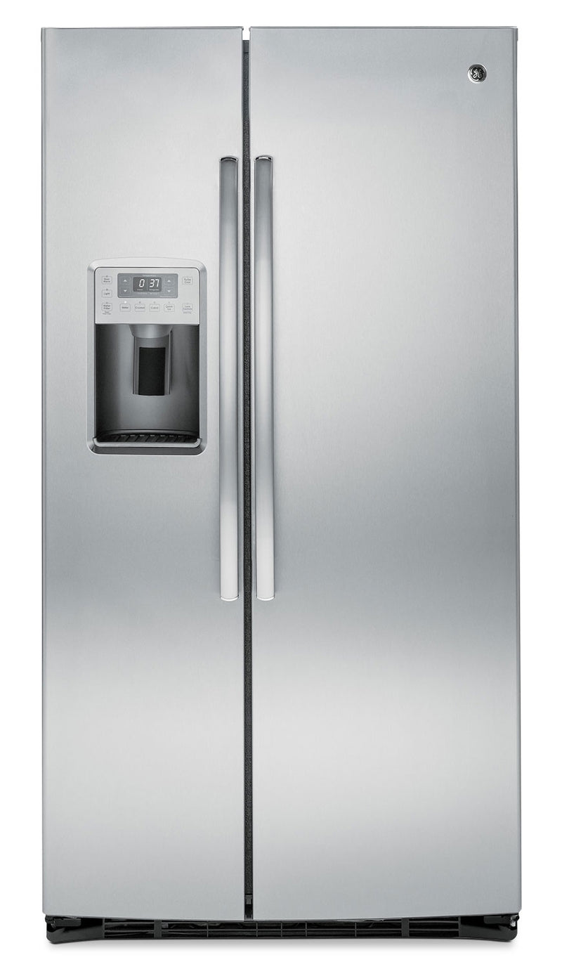 GE 25.4 Cu. Ft. Side-by-Side Refrigerator with Water Dispenser - Grey|Réfrigérateur GE de 25,4 pi³ à compartiments juxtaposés avec distributeur d'eau - gris