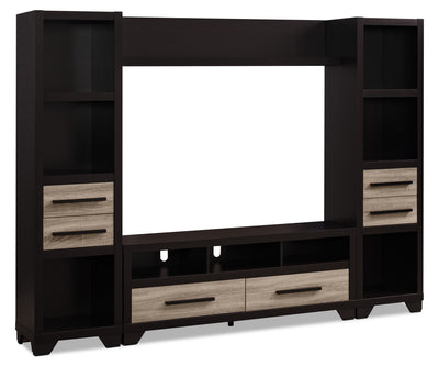 "Glendale 4-Piece Entertainment Centre with 60"" TV Opening – Rustic - Rustic style Wall Unit in Brown Wood"
