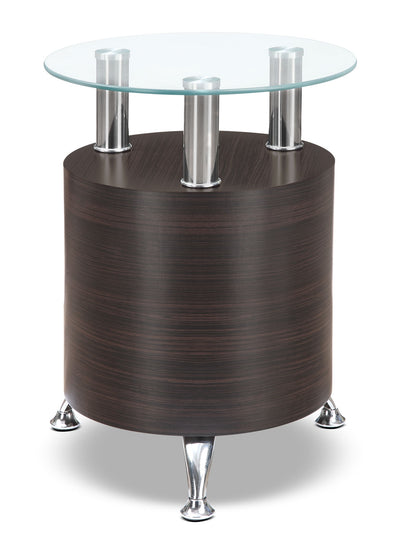 Seradala End Table - Contemporary style End Table in Cappuccino Glass and Wood