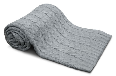 Cable Knit Throw – Grey - Grey Throw Blanket