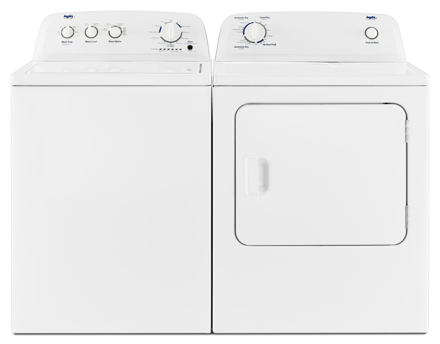 Inglis 4 4 Cu  Ft  I E C  Top-Load Washer and 6 5 Cu  Ft  Electric Dryer –  White