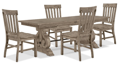 Keswick 5-Piece Dining Package – Dovetail Grey - Rustic style Dining Room Set in Grey Pine