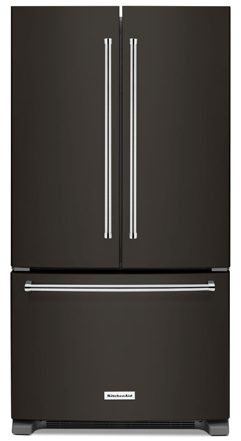 KitchenAid 25 Cu. Ft. French Door Refrigerator with Interior Dispenser - KRFF305EBS - Refrigerator with High-Efficiency, Ice Maker in Black Stainless Steel