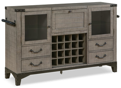 Ironworks Server and Bar Cabinet - Industrial style Server in Grey Rubberwood Solids and Metal