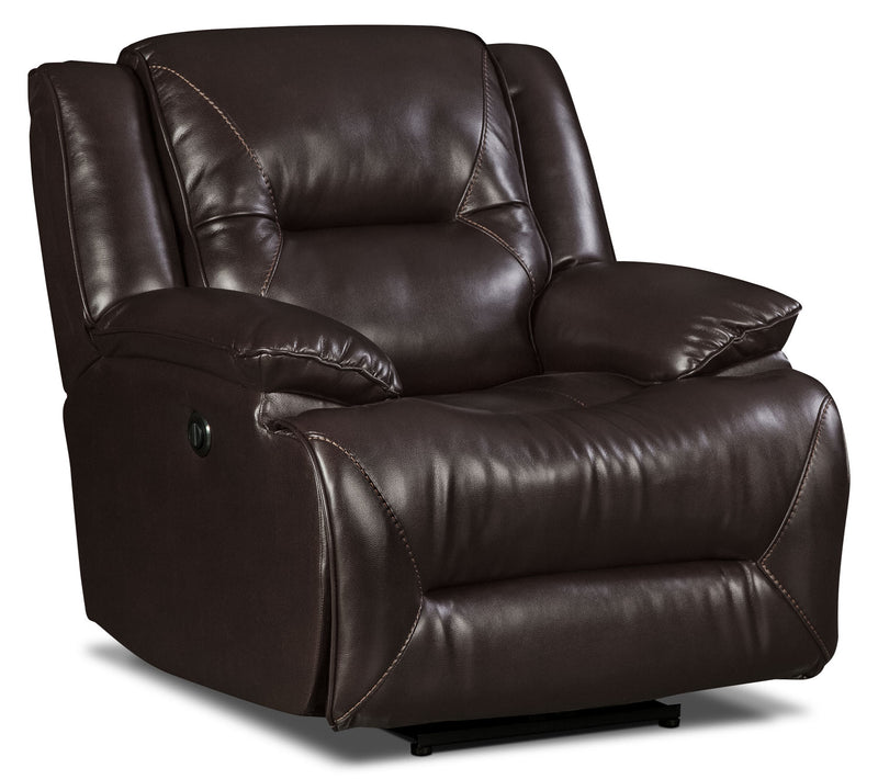 Lancer Leather-Look Fabric Power Reclining Chair – Brown|Fauteuil à inclinaison électrique Lancer en suédine – brun