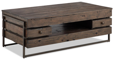 Kirkwood Coffee Table - Industrial style Coffee Table in Dark Brown Metal and Wood