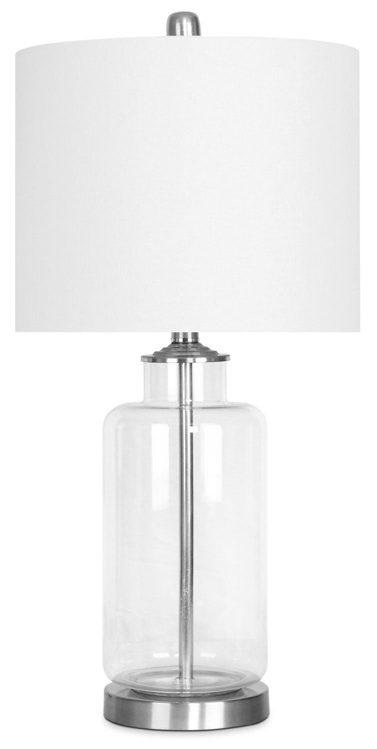 Clear Base Table Lamp with Brushed Nickel Accents|Lampe de table à base transparente avec éléments en nickel brossé