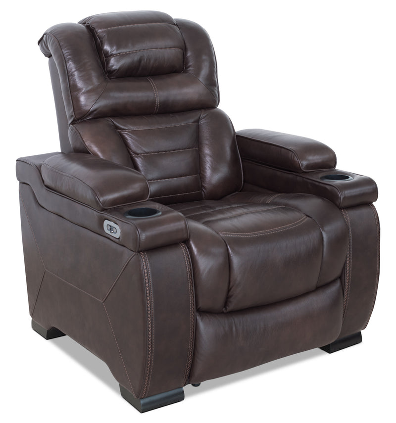 Hugo Genuine Leather Power Reclining Chair Brown The Brick