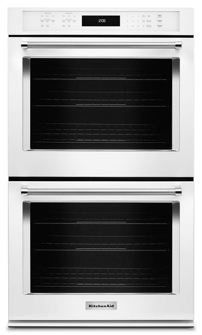 "KitchenAid 27"" Double Wall Oven with Even-Heat™ True Convection - White - Double Wall Oven in White"