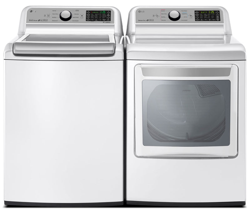 LG 5.8 Cu. Ft. Top-Load Washer and 7.3 Cu. Ft. Electric Dryer|Laveuse à chargement par le haut de 5,8 pi³ et sécheuse électrique de 7,3 pi³ de LG