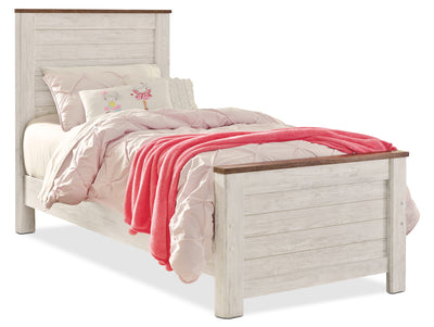 Willowton Twin Bed - Country style Bed in White Engineered Wood and Laminate Veneers