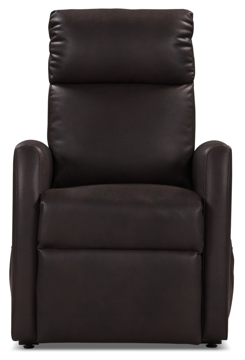 Lanny Leather Look Fabric Power Lift Recliner Chocolate