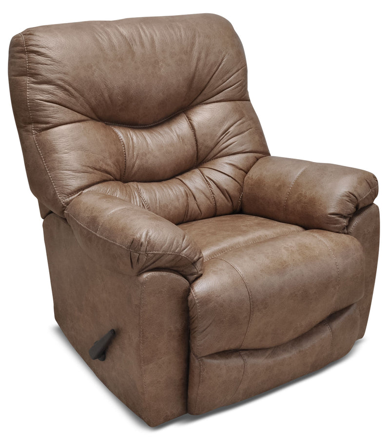 4595 Leather-Look Fabric Rocker Reclining Chair – Camel|Fauteuil berçant inclinable 4595 en tissu d'apparence cuir - chameau