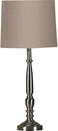 Brushed-Steel Table Lamp with Taupe Shade