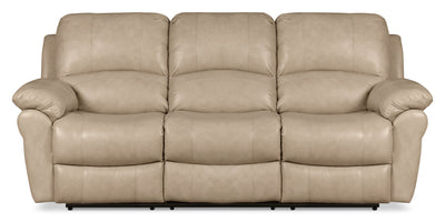 Kobe Genuine Leather Power Reclining Sofa - Stone - Contemporary style Sofa in Stone