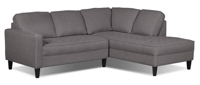 Paris 2-Piece Linen-Look Fabric Right-Facing Sectional – Granite - Modern style Sectional in Granite