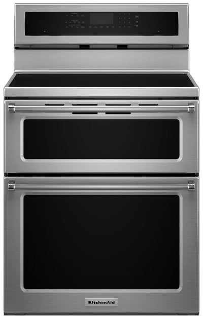 KitchenAid 6.7 Cu Ft. Double Oven Induction Convection Range - Stainless Steel|Cuisinière à induction KitchenAid de 6,7 pi³ à convection à double four - acier inoxydable|YKFID50S