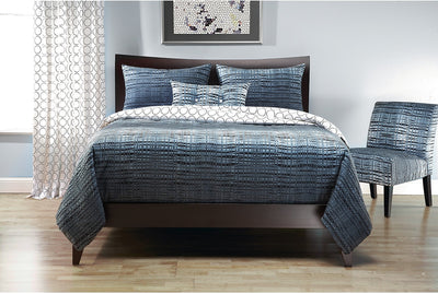 Interweave Reversible 4 Piece Queen Duvet Cover Set - Blue Duvet Set