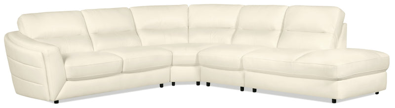 Romeo 4-Piece Genuine Leather Right-Facing Sectional – Beige|Sofa sectionnel de droite Romeo 4 pièces en cuir véritable - beige|ROMEBRS4