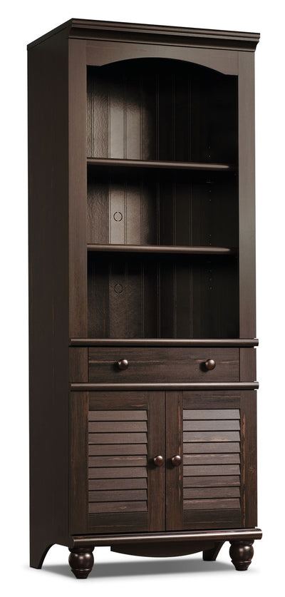 Harbor View Library – Antiqued Paint - Country style Bookcase in Dark Brown Wood