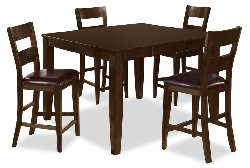 Dakota 5 Piece Counter-Height Dining Package - Contemporary style Dining Room Set in Dark Cherry