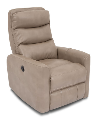 Quinn Leather-Look Fabric Power Recliner with Adjustable Headrest - Taupe - Modern style Chair in Taupe