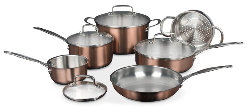 Cuisinart Classic Collection® 10-Piece Stainless Colour Series Cookware Set – Copper|Série couleur inoxydable Cuisinart Classic CollectionMD - Cuivre
