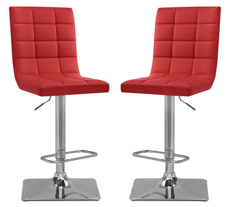 Axel High-Back Adjustable Bar Stool, Set of 2 – Red|Tabouret bar réglable Axel à dossier haut, ensemble de 2 - rouge