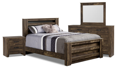 Remie 6-Piece Queen Bedroom Package - Rustic style Bedroom Package in Oak Engineered Wood and Laminate Veneers