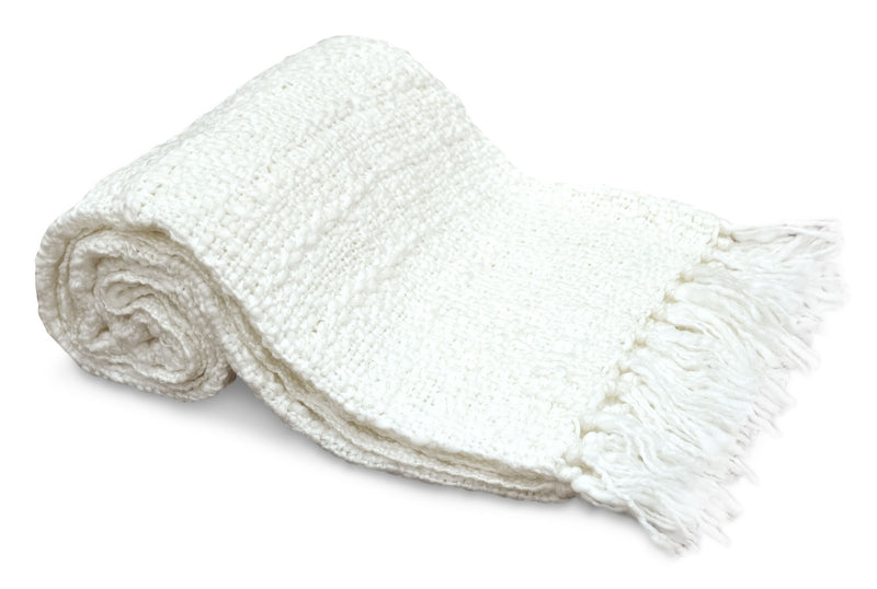 Knit Throw with Fringe – White - White Throw Blanket