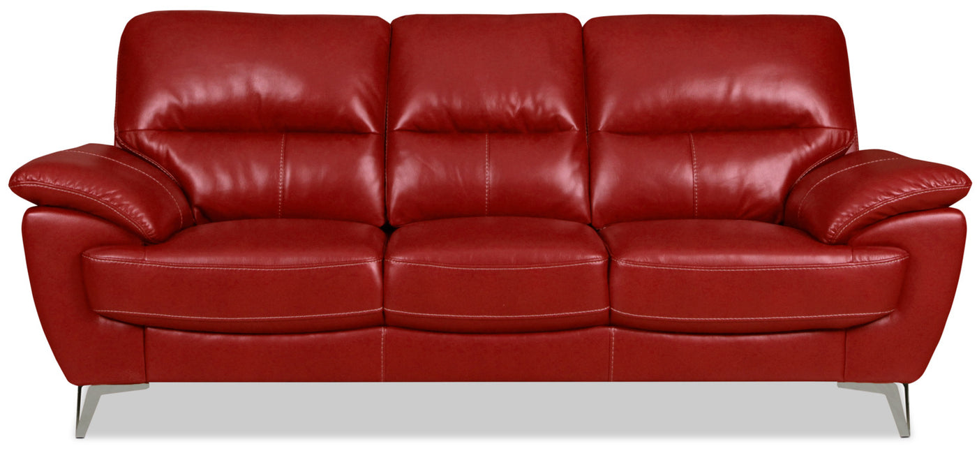 Olivia Leather-Look Fabric Sofa – Red