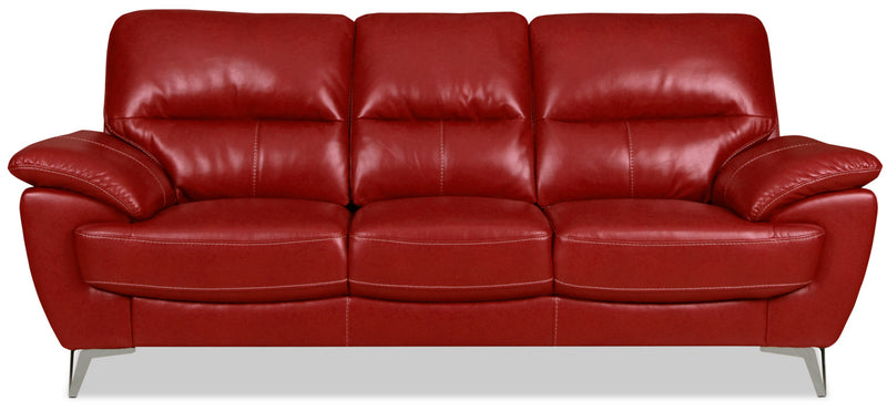 Olivia Leather-Look Fabric Sofa – Red|Sofa Olivia en tissu d'apparence cuir - rouge|OLIVRDSF