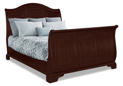 Carmen Queen Sleigh Bed – Cherry - Traditional style Bed in Cherry Poplar Solids and Birch Veneers