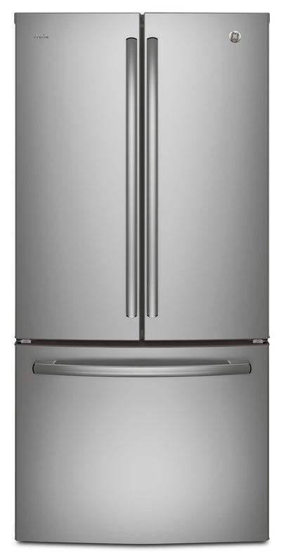 GE Profile 24.5 Cu. Ft. French-Door Refrigerator with Space-saving Icemaker – PNE25NGLKSS - Refrigerator with Exterior Water/Ice Dispenser in Stainless Steel