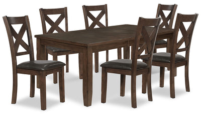 Talia 7-Piece Dining Package - Contemporary style Dining Room Set in Brown Rubberwood Solids and Mango Veneers