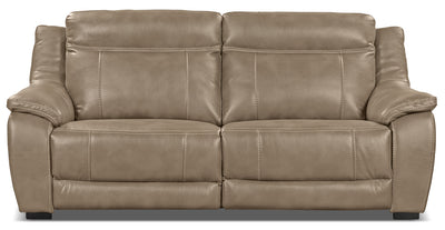 Novo Leather-Look Fabric Power Reclining Sofa – Taupe - Modern style Sofa in Taupe