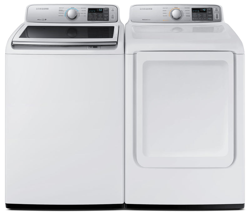 Samsung 5.2 Cu. Ft. Top-Load Washer and 7.4 Cu. Ft. Electric Dryer – White |Laveuse à chargement par le haut de 5,2 pi³ et sécheuse électrique de 7,4