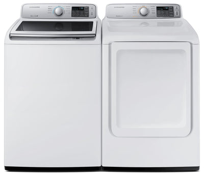 Samsung 5.2 Cu. Ft. Top-Load Washer and 7.4 Cu. Ft. Electric Dryer - White