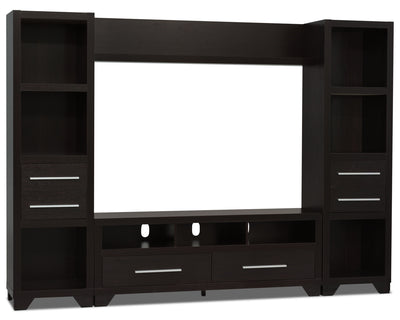 "Glendale 4-Piece Entertainment Centre with 60"" TV Opening – Espresso - Traditional style Wall Unit in Espresso"